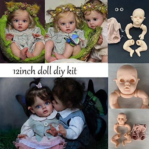 Danping Unbemalte Silikon Reborn Kits Neugeborenen Baby Doll DIY Zubehör (Kopf + Gliedmaßen + Körperkleidung + Blaue/Ohne Augen) (12 Zoll)