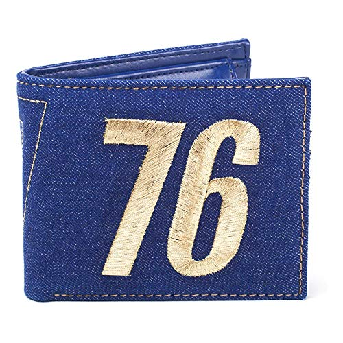 Fallout FALLOUT 76 Embroidered Vault Vintage Denim Bi-Fold Wallet, Male, One Size, Blue (MW060533FAL) Monedero, 16 cm, Azul (Blue)