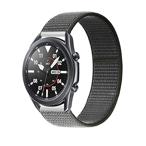 LGFCOK 20 22mm Watch Band for Gear S3 Frontier Strap Galaxy Watch 3 45mm 41mm 46 Active 2 44mm 40mm Nylon para Huawei Watch GT2E / 2 Strap 42 (Band Color : Dark Olive 8, Band Width : 22mm)