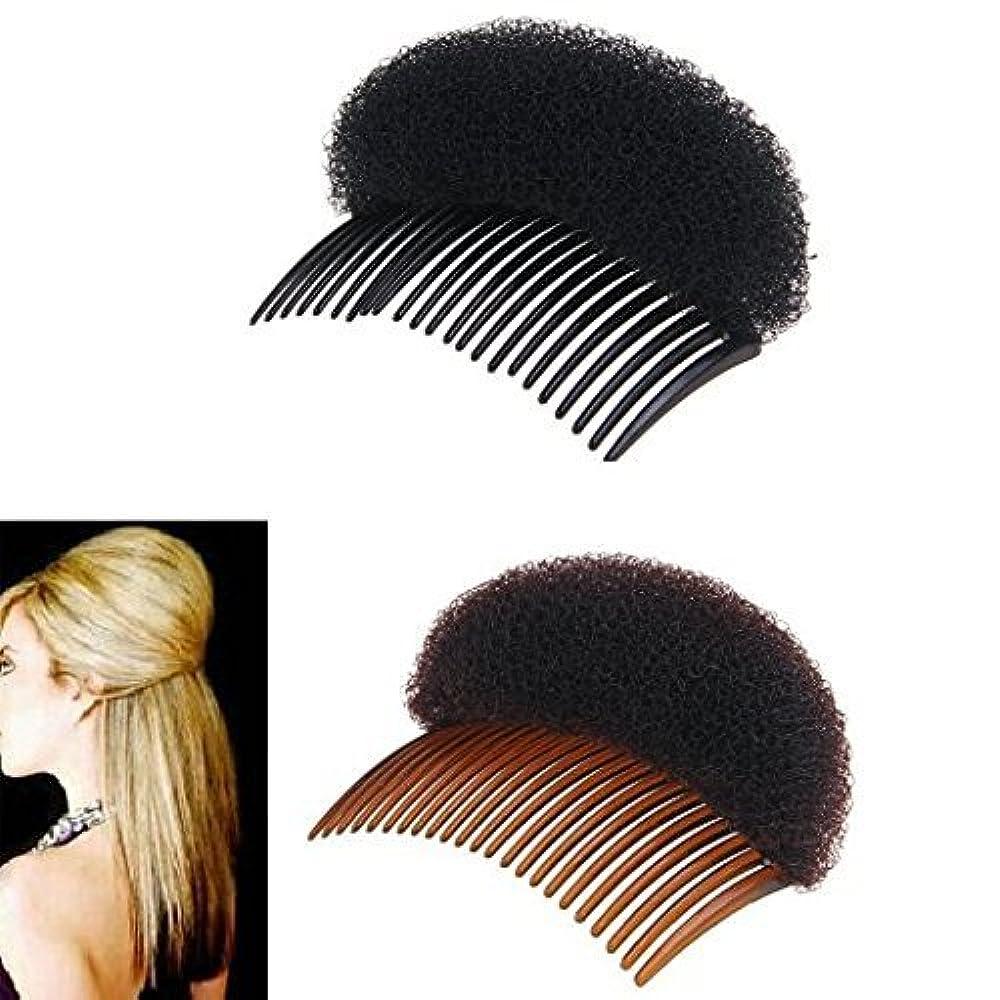 許可フリル座標2Pices(1Black+1Brown) Women Bump It Up Volume Hair Base Styling Clip Stick Bum Maker Braid Insert Tool Do Beehive Hair Styler Party Hair Accessories with Comb [並行輸入品]