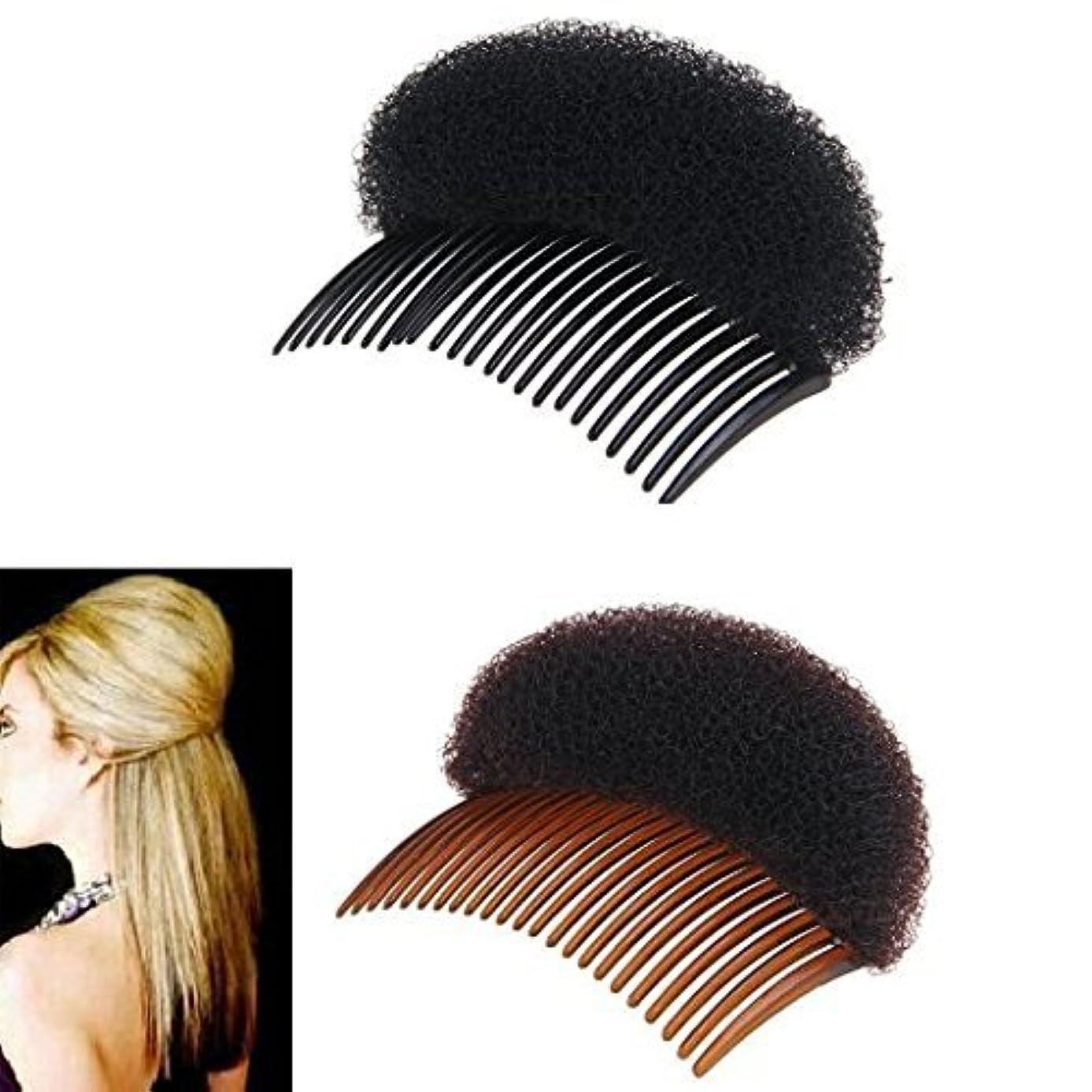 滴下生命体補う2Pices(1Black+1Brown) Women Bump It Up Volume Hair Base Styling Clip Stick Bum Maker Braid Insert Tool Do Beehive Hair Styler Party Hair Accessories with Comb [並行輸入品]