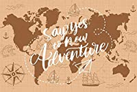 写真の冒険の背景に「はい」と言ってください9x6ft / 2.7x1.8mレトロな地図旅行の背景アウトドアパーティー用品装飾YouTube写真撮影の小道具BJDSST32