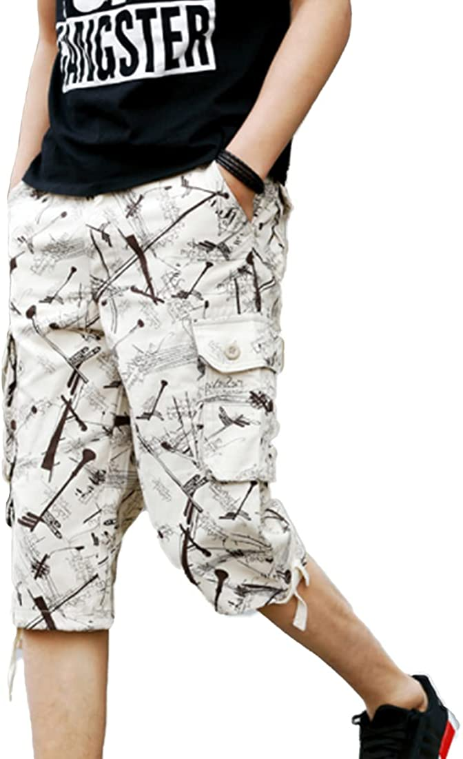 ONLYWOOD Men's Casual Washed Cargo Shorts Below Knee Capris Military Shorts(Beige,40)
