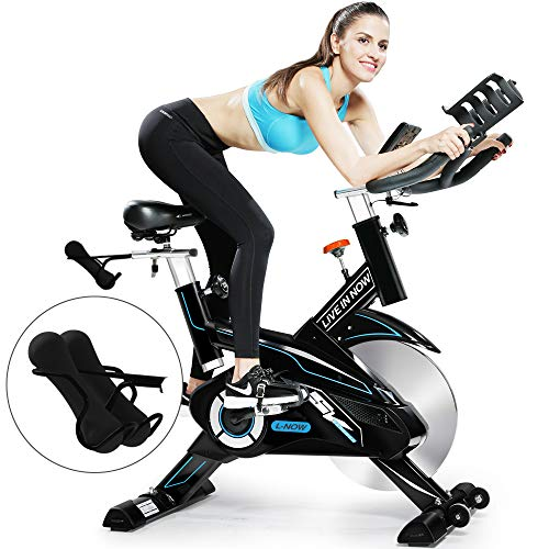 L NOW Indoor Cycling Bike Stationary Bike Exercise Bike Belt Driven Smooth Quiet with Dumbbell Rack