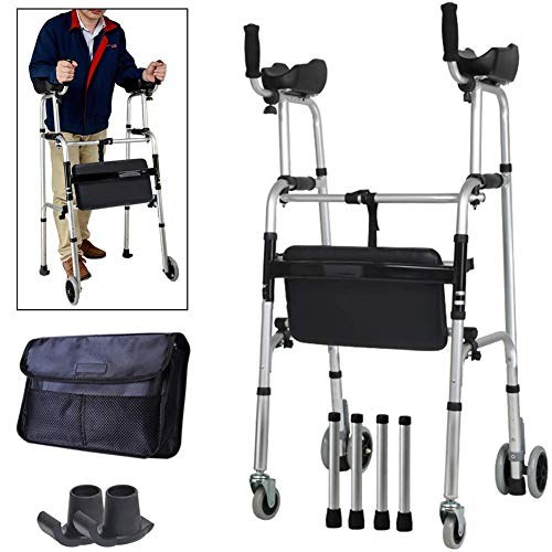 Z-SEAT Upright Posture Rolling Walker with Armrest Support Pad, Medical 4 Wheel Walker Rollator, Adjustable Height Elderly Walking Aid Used for Seniors Walking