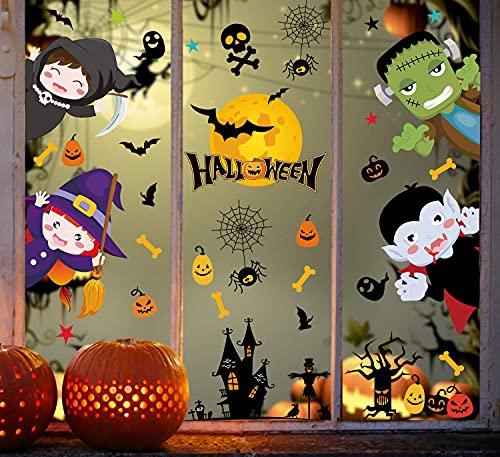 heekpek Halloween Pegatinas de Ventanas Doble Cara Pegatinas de Decoración para Halloween Partido Ventana Calcomanías Niño Fiesta de Halloween 8 Hojas Decoración de Cristal