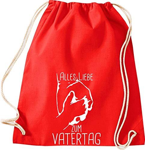 Shirtstown Sacca da ginnastica, con scritta 'Alles Liebe zum atertag', con logo, borsa sportiva, Adulti (unisex), W11004499rot, Colore: rosso, 37 cm x 46 cm