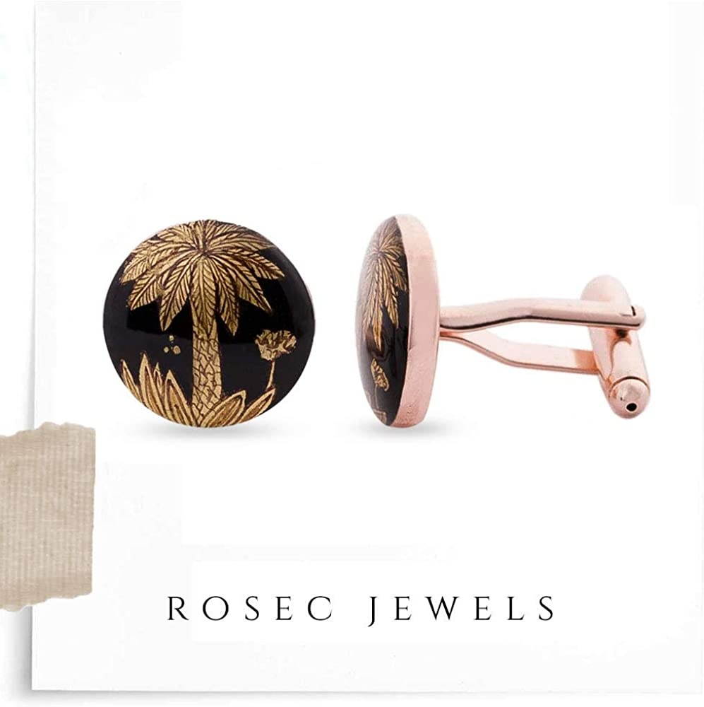 Rosec Jewels Black Round Hand Painted Groom Cufflink, Gold-Plated Brass Wedding Anniversary Cufflink Suit Clip Set, Personalized Swank Palm Tree Cufflinks for Mens