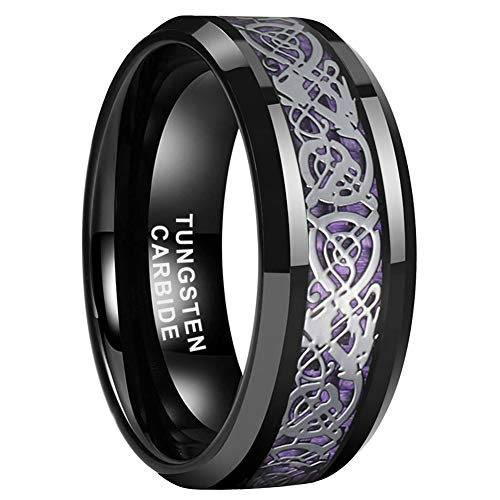 iTungsten 8mm Black Tungsten Carbide Wedding Bands Engagement Rings for Men Women Celtic Dragon Purple Carbon Fiber Inlay Beveled Edges Comfort Fit