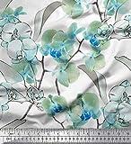 Soimoi Grun Satin Seide Stoff Blätter & Orchideen Blume