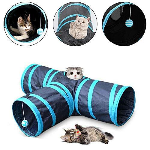 Allright Katzentunnel Katzenspielzeug Katze Spielzeug 3 Wege Spieltunnel Faltbar Tunnel