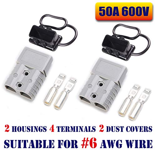 Mr.Brighton LED 50Amp Anderson Compatible 2 Pole Power Connector Plug Grey w/Terminals for #6 AWG Wire[2 housing+4 Terminal pins+2 dust Covers] -  50Agrey2pc6cover