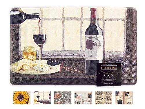 Arlo Collection Printed Anti-Fatigue Comfort Mat. Multi-Purpose Decorative Non-Slip Standing Mat for Kitchen, Bathroom, Laundry Room or Office. By Home Fashion Designs Brand. (Wine Bottle)