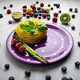 Handmade Purple And White Pottery Polka Dot Glazed 10inch/25.5cm Flat Dinner Plate | Ceramic Unique...