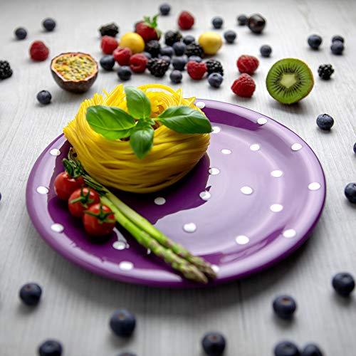 City to Cottage | Assiette plate | Violette à pois blancs en céramique faite et peinte à la main | 25,5cm
