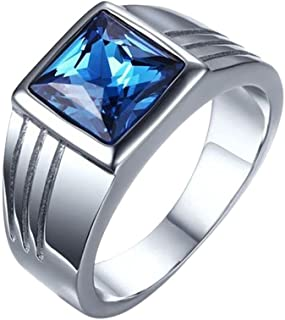 YOFEEL خاتم من الكريستال الياقوت للرجال/النسائية، خاتم حجر الراين من الفولاذ المقاوم للصدأ، مجموعة مجوهرات (أزرق/فضي 1 قطعة)