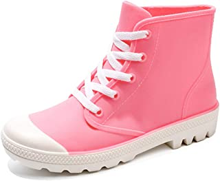 Women's Rain Shoes Short Ankle Boots Waterproof Anti Slip Rubber Shoes with Shoelace