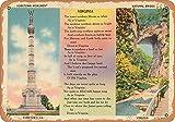Wall-Color 9 x 12 Metal Sign - Virginia Postcard - Yorktown Monument, Yorktown, VA, Natural Bridge, Virginia - Vintage Rusty Look