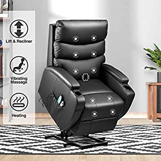 Kealive Lift Chair for Elderly Power Lift Recliner Chair with Massage and Heat Comfortable PU Leather Chair Sofa, Over Stuffed Backrest Chair with Remote Control, Side Pocket and Cup Holders, Black