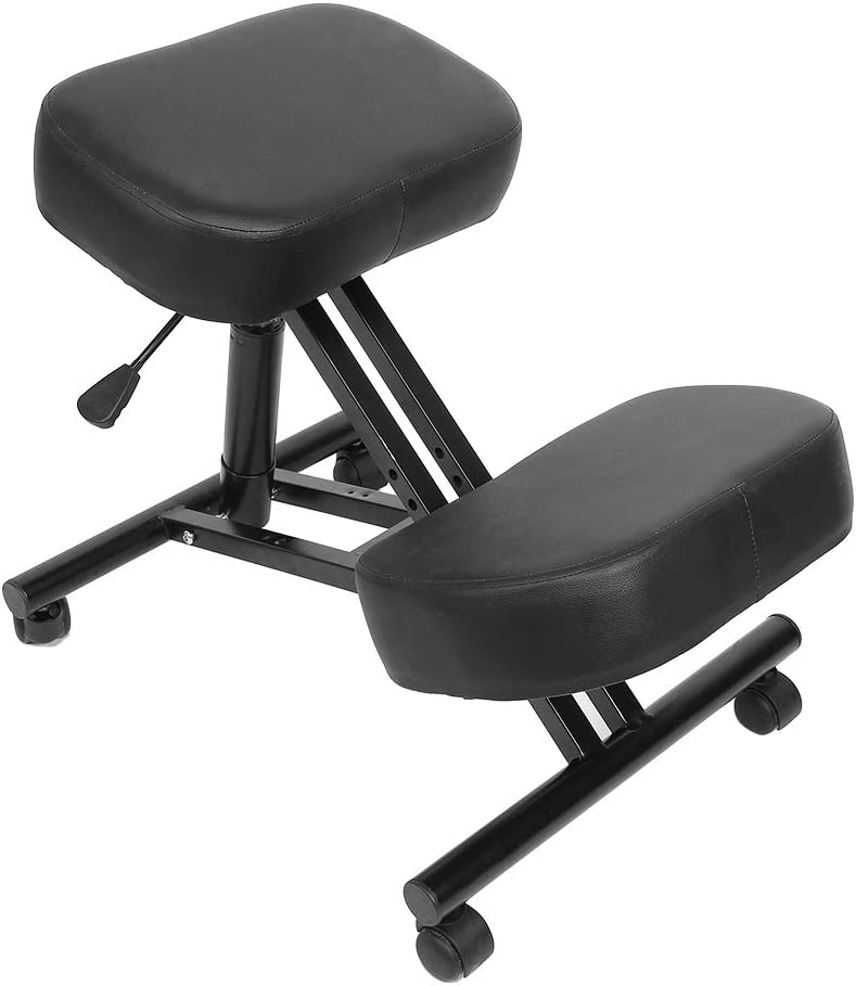 Wakects Silla ortopédica neumática ergonómica para rodillas, taburete para el hogar, ajustable para corregir la postura corporal
