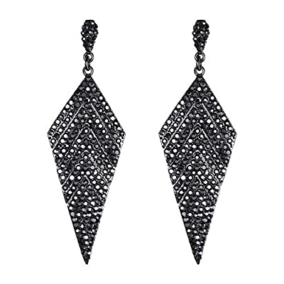 EVER FAITH Women's Crystal Elegant Vintage Banquet Rhombus Dangle Pierced Earrings Grey Black-Tone