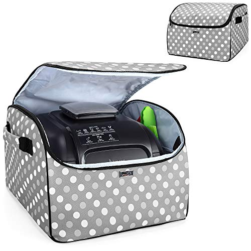 Luxja Schutzhülle für Elektrische Tischgrill, Abdeckhaube Kompatibel mit Ninja Foodi Grill und Luftfritteuse, Ninja Grillplatte Aufbewahrung Tasche zum Transport, Grau Punkt