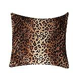 Oulii Cojín (cuadrado o rectangular) con diseño de estampado animal de leopardo, de pelo sintético, versátil