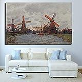 QWESFX Monet Italy Blue Sky Quadri su tela-Quadri famosi in tutto il mondo Replica di Monet-Grande mulino a vento Immagini per pareti di paesaggi (Stampa senza cornice) D 60x90CM