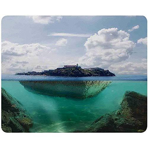 Ocean Island Decor Mousepad, schwimmender Felsen und Leuchtturm im kristallklaren atlantischen Wassernebel Naturfoto,