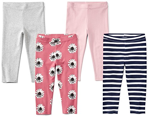 Spotted Zebra Girls' Kids Cropped Capri Leggings, 4-pack Floral, X-Small