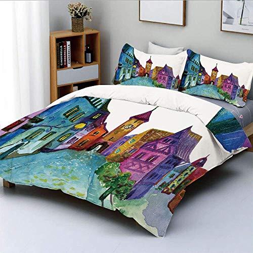 Juego de funda nórdica, paisaje europeo con colores pastel e impresión de imagen de arquitectura antigua envejecida por carretera Juego de cama decorativo de 3 piezas con 2 fundas de almohada, multico