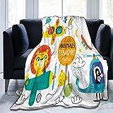 Benle Manta Super Suave,Niños Transporte Set Lindos Animales Pequeños,Manta de Felpa Suaves y esponjosa para sofá Cama y Sala de Estar Adecuada para Todas Las Estaciones 125x100cm