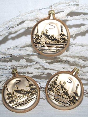Jingle Bells Lauscha Christbaumschmuck Taler rund Gold matt mit Winterlandschaft 3 Stück per Box