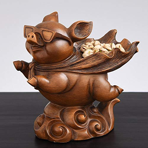 ULDQ Statues And Figurines Statues Garden Ornaments Flying Pigs Man Storage Box Statue Animal Storage Art Sculpture Resin Entrance Entryway Key Storage Decorations Ornaments -2