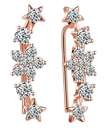 Infinite U elegante in argento Sterling 925e zirconia cubica fiore spazzare Ear Cuff Wrap orecchini da donna, oro rosa