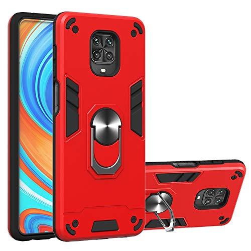NWOWNK 保護ケース For MI Redmi Note 9Sケース(金属リング付き)、Kickstand 360度回転付き電話ケース(垂直および水平スタンド)、Xiaomi Redmi Note 9S / Note 9 Pro Max 2層耐衝撃カバーケース (Color : Red)