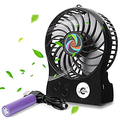 Small Desk Fan, Xndryan USB Desktop Fan Mini Rechargable Fan 1500mAh Battery Powered Fan Personal Desk Fan Outdoor Table Fan for Home, Office, Traveling, Camping (3 Speeds, Strong Wind, Low Noise)