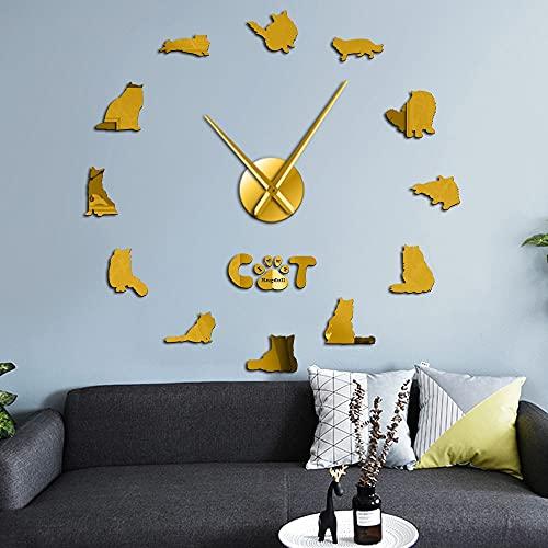 Ragdoll Cat DIY Reloj de pared con efecto espejo de gran tamaño para razas de gatos, gatito y pata de gato pegatinas DIY arte de pared gigante sin marco (dorado, 37 pulgadas)