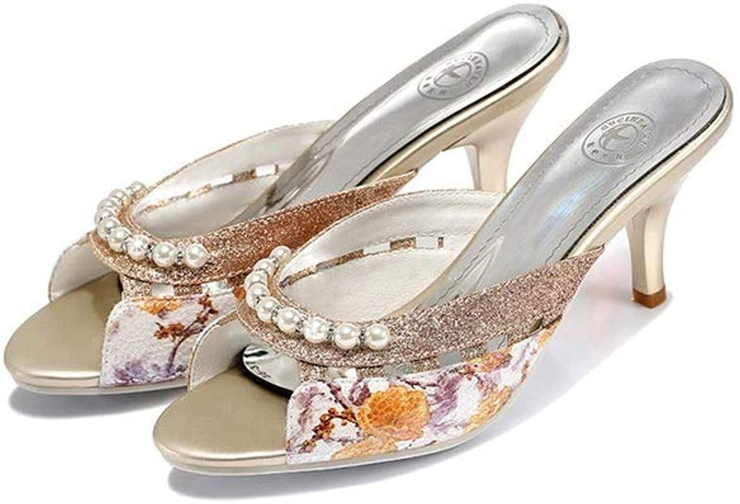 WANGFANG Sandals Women's Slippers, Summer Pearl Ink Painting Kitten Heel Slippers Mules shoes High-Heeled Slippers (color   Yellow, Size   US8 EU39 UK6 MX5.5 CN39)