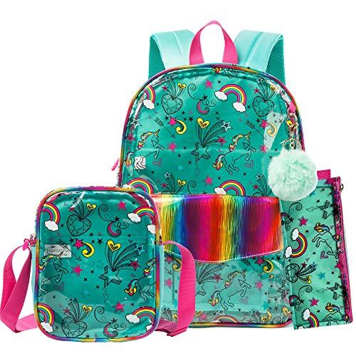 HTgroce zaino trasparente scuola con borsette bambine borsa pranzo&Zaino per bambini per scuola materna Ragazze ragazzi Viaggi per bambini L27xB12xW33 (verde)