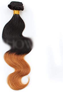 Hairpieces Hairpieces Brazilian Human Hair Body Weave Hair Extension -1B/30# Black to Brown 2 Tones Gradient Color Hair Weave 1 Bundle100g for Daily Use and Party (Color : Brown, Size : 14 inch)