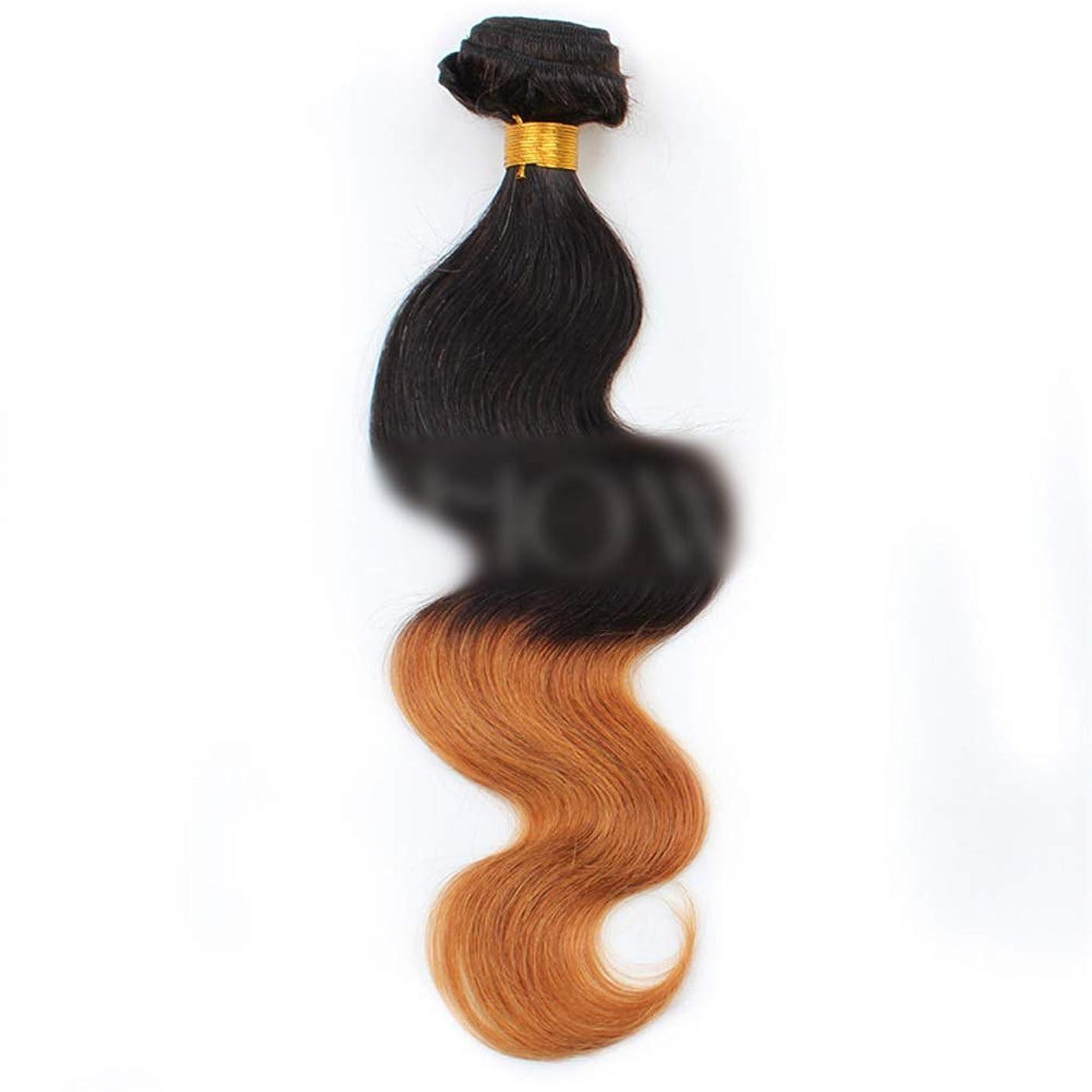 喜劇単独でタワーYESONEEP ブラジルの人間の髪の毛のボディ織り方ヘアエクステンション-1B / 30#黒から茶色へのグラデーショングラデーションカラー髪の織り方1バンドル、100g合成髪レースかつらロールプレイングかつら長くて短い女性自然 (色 : ブラウン, サイズ : 22 inch)