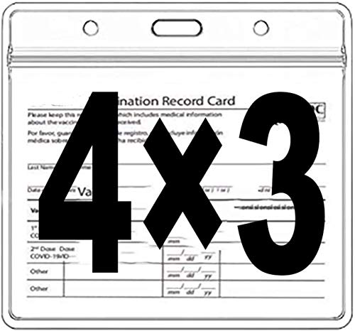 CDC Vaccine Card Protector 4x3 Inch Vaccination Card Holder Horizontal ID Badge Holders Clear Visual Card Protector for Immunization Badge Waterproof (5Pack)