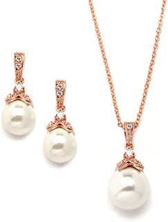 Best rose gold and pearl necklace and earring set Reviews