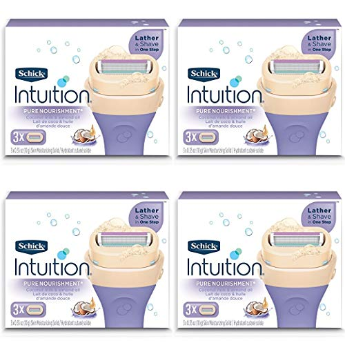 Schick Intuition Pure Nourishment Womens Razor Refills with Coconut Milk and Almond Oil