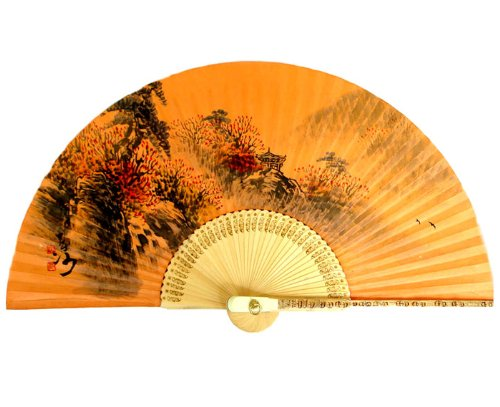 Antique Alive Peinte à la Main Pliable Fall Scène Peinture sur Jaune Sol Teints coréen Mulberry Papier de Riz en Bambou Art Handheld éventail décoratif