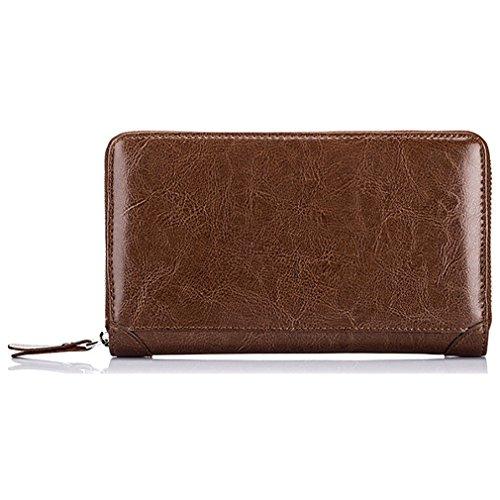 【THEBEST】カードケース 長財布風 牛革 高級感 60枚収納 カードファイル 手帳型 マルチケース 通帳入れ カードケース 名刺入れ クレジットカードケース ブラウン