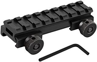 HooGou Low Profile Picatinny Rail, Riser Mount with See Through Hole for Scopes Optics and Red Dots 0.5'' High 3.35'' Long 8 Slots