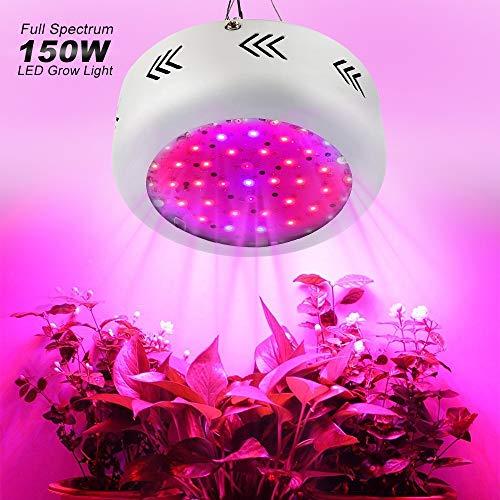 E-kinds LED Grow Light, 150W UFO LED Grow Light Vollspektrum 50Ledsx3w Fitolamp Grow Box für Hydroponic Garden Greenhouse Zimmerpflanzen
