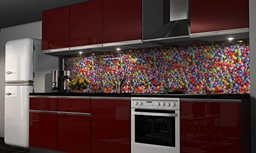Graz Design - Pellicola adesiva per parete, per cucina, motivo'Manti', varie misure, acciaio, H: 50cm x B: 280cm